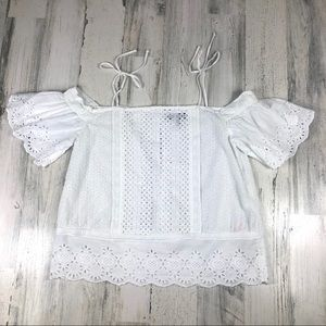 TOPSHOP Cold shoulder white top size 2